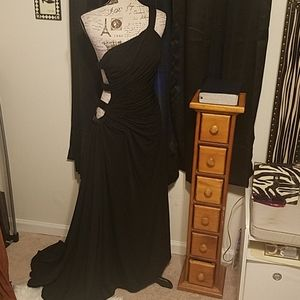 Long black evening dress by Annie Lee